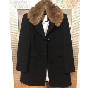 Kate Spade Faux Fur-Trimmed Notch Collar Car Coat